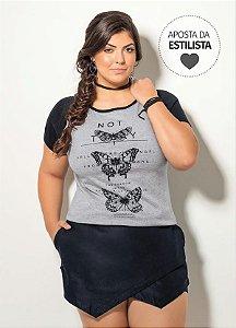 T-Shirt  Raglan Mescla e Preta Plus Size
