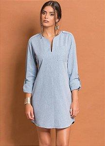 Vestido Chemise Básico Azul Claro Plus Size.