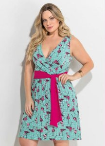 Vestido Transpassado Flamingo Plus Size
