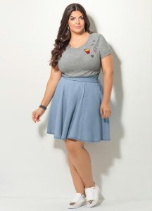 T-shirt com Patch Mescla Plus Size