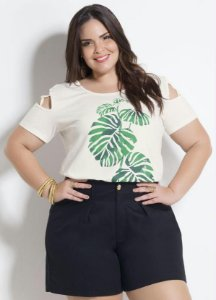 T-shirt com tiras off White Plus Size
