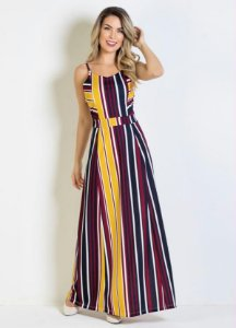 Vestido Longo Listrado Com Alças Plus Size
