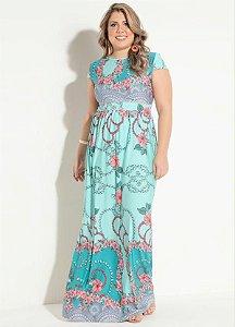 Vestido Floral Turquesa em Malha Plus Size