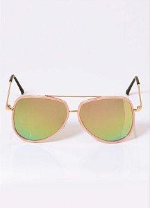 Óculos de Sol Aviador Rosa com Lente Espelhada