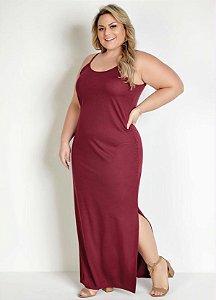 Vestido Longo Bordô Com Fendas Plus Size