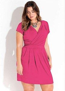 Vestido Com Decote Transpassado Pink