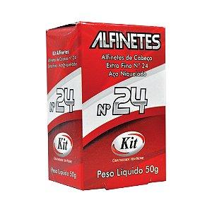 ALFINETE KIT CABECA 50GRS N.24 NIQUELADO || CAIXA UNID