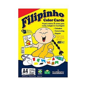 PAPEL FILIPINHO COLOR CARDS 24FLS A4 120GRS COLORIDO || PCT UNID