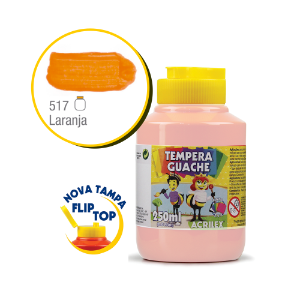 TEMPERA GUACHE 02025 250 ML 517 LARANJA || CAIXA C/3