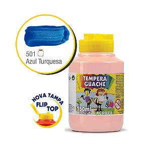 TEMPERA GUACHE 02023 250 ML 501 AZUL TURQUESA || CAIXA C/3