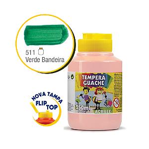 TEMPERA GUACHE 02025 250 ML 511 VERDE BANDEIRA    CAIXA C/3