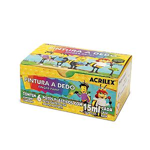PINTURA A DEDO ACRILEX C/6 CORES 15ML R11315