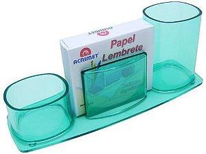 Porta lapis/clips/lembrete millenium verde clear c/papel 740.5 Acrimet