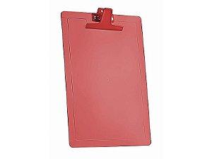 Prancheta Oficio 135.7 C/Reguas Laterais Centimetro e Polegada Vermelho Clear Acrimet