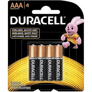 Pilha alcalina palito 1,5v c/4un AAA Duracell