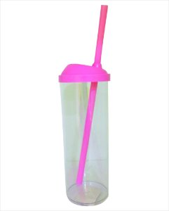 Copo Long Drink com Canudo 300ml -  Rosa com Transparente
