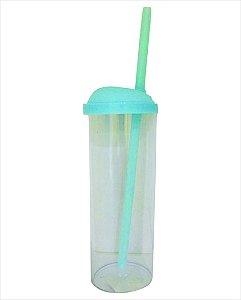 Copo Long Drink com Canudo 300ml - Azul Claro com Transparente