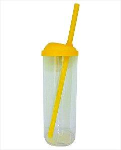 Copo Long Drink com canudo 300ml -  Amarelo com Transparente