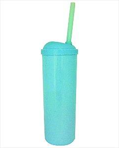 Copo Long Drink com Canudo 300ml - Azul Claro