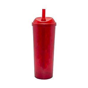 Copo Long Drink com Canudo 300ml - Vermelho