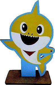 Enfeite de Mesa em MDF Tubarão Amarelo
