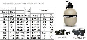 Conjunto Filtrante Br30 + Motobomba 1/3 Cv - Motor Weg 110/220 - Sibrape