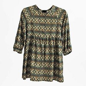 Vestido franzido – TRINIDAD quadrados