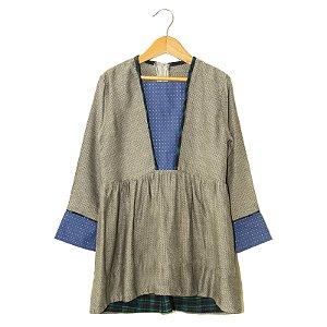 Vestido Princesa - Pori - Cinza Azul Verde