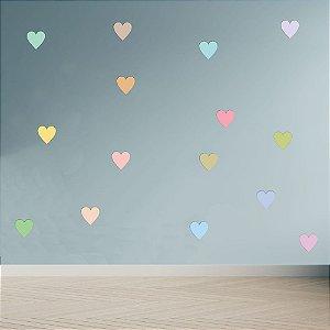 Adesivo Decoração Infantil Corações Tons Pastéis Coloridos