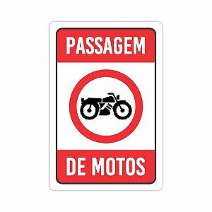 Placa De Sinalização Passagem De Motos Condominio Sinalizar