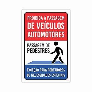 Placa Passagem De Pedestres 40x30cm Condominio Sinalização
