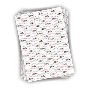 Cartela Etiqueta - Adesivo De Voltagem - 220v - Para Fios E Cabos