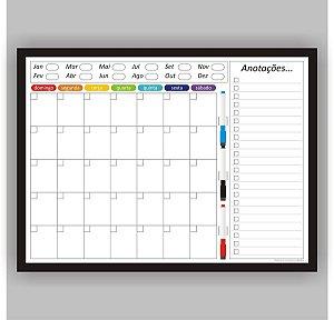 Quadro Planejamento Mensal - Planner - Com Moldura Preta