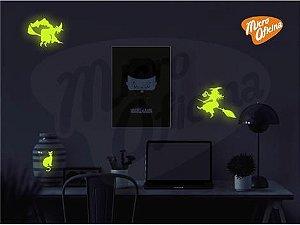 Adesivo Brilha No Escuro - 2 Bruxas 1 Gato Halloween Novo