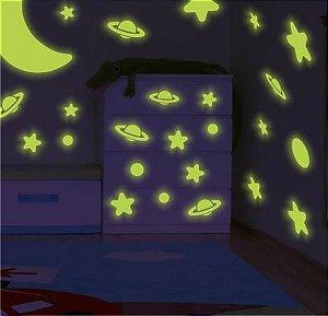 Adesivo Brilha No Escuro - Galáxia - Estrelas - Planetas Lua
