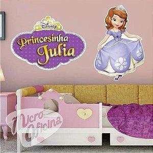 Kit 2 Adesivos - Princesa Sofia Com Nome Personalizado