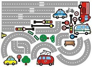 Adesivo De Parede Decorativo Pista Carros Meninos Cidade