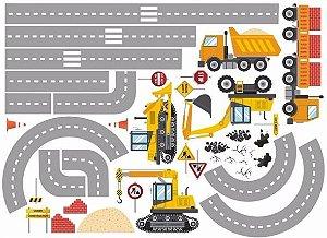 Adesivo Parede Infantil Trator Construção Caminhão Bebe