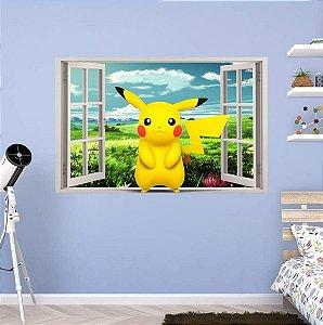 Adesivo Parede Janela 3d Pokemon Go Pikachu - Lançamento!!!