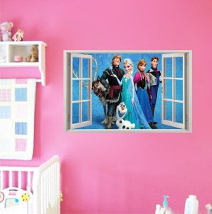 Adesivo Parede - Janela 3D - Frozen - Elsa - Disney - Modelo 01