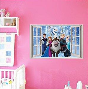 Adesivo Parede - Janela 3D - Frozen - Elsa - Disney - Modelo 02
