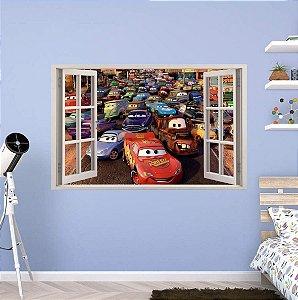 Adesivo Parede - Janela 3D - Carros - Relâmpago Mcqueen - Disney - Modelo 02