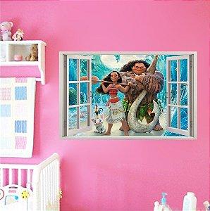 Adesivo Parede - Janela 3D - Moana - Disney - Modelo 02