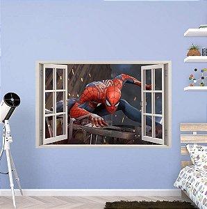 Adesivo Parede - Janela 3D - Spider Man - Homem Aranha - Marvel - Modelo 03