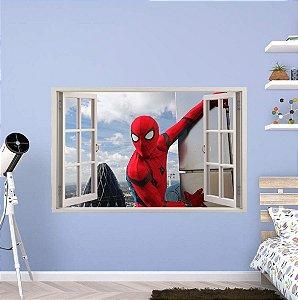 Adesivo Parede - Janela 3D - Spider Man - Homem Aranha - Marvel - Modelo 02
