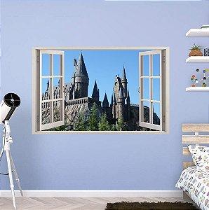 Adesivo Parede - Janela 3D - Castelo Harry Potter - Hogwarts - Modelo 03
