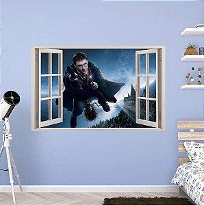 Adesivo Parede - Janela 3D - Castelo Harry Potter - Hogwarts - Modelo 02