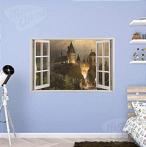 Adesivo Parede - Janela 3D - Castelo Harry Potter - Hogwarts - Modelo 01