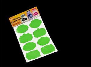 Etiqueta Vinil Verde Claro Adesiva para Caneta Giz Líquido