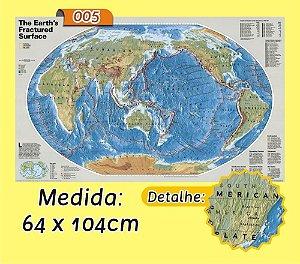 Mapa Mundi em Painel de Lona - Modelo 5
